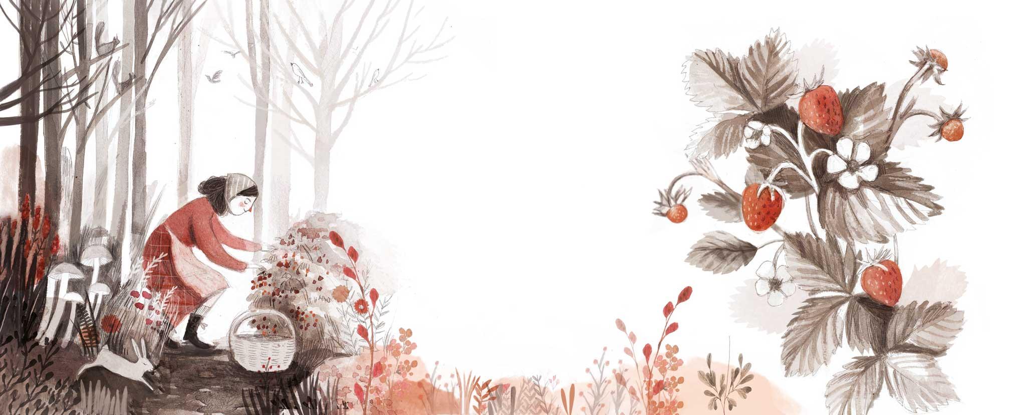 """Illustrazione realizzata da Ilaria Zanellato per le etichette della nuova linea di Grappe Francoli """"Le ricette della Zia Mina"""". Le etichette raffigurano Zia Mina in diverse azioni quotidiane che dedica alla produzione di grappa."""